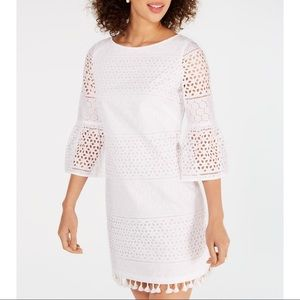 NWT.Vince Camuto Cotton Long-Sleeve Eyelet Dress